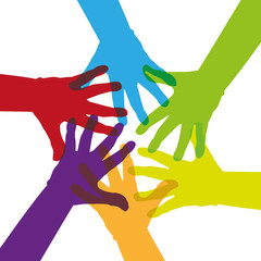 Six colorful hands touching together - illustration