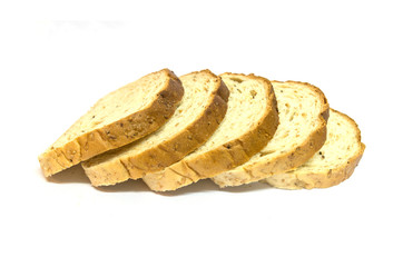 bread sliced on white background