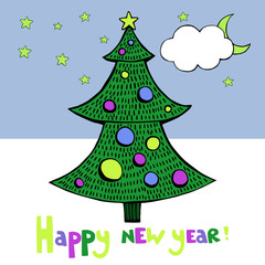 New year card vector image with tree.