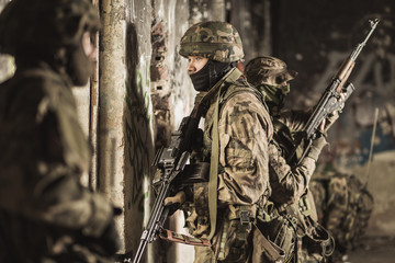 Armed military soldiers