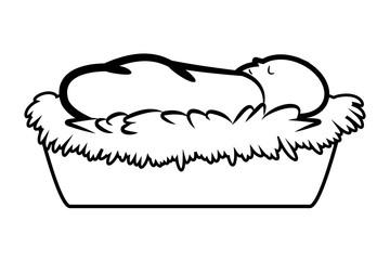 Christmas jesus manger vector outline symbol, icon  design. illustration isolated on white background.