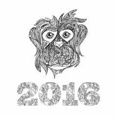 Hand drawn monkey for anti stress Coloring Page with high detail