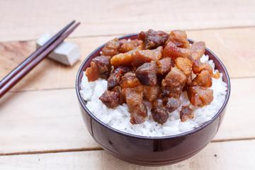 Rice with fried pork fish sauce