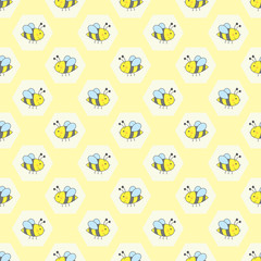 vector seamless pattern with bees on honeycomb background