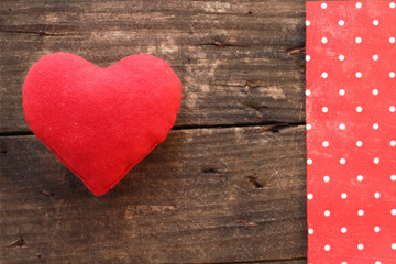 Red heart and polka dot border design - holiday concept