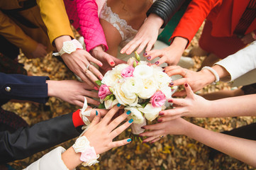 Bouquet and Bridesmaid's Hands