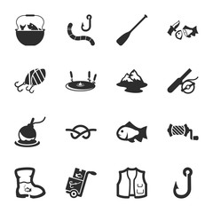 fishing 16 icons universal set for web and mobile