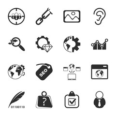 SEO 16 icons universal set for web and mobile