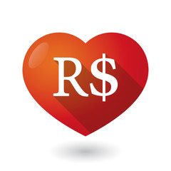 Isolated red heart with a brazillian real currency sign