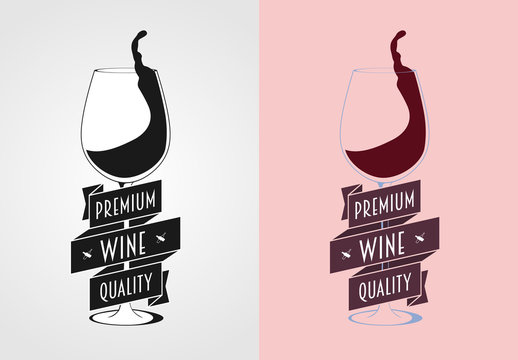 Vector wine label, badge or logo concept with wine glass. Monochrome and color.