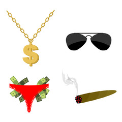 Pimps set Accessory. Dollar sign on chain. Panties strippers and