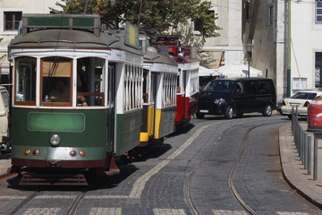 Three trams in Lisbon, Portugal