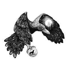 Tatoo, Raven with a full moon on a wing