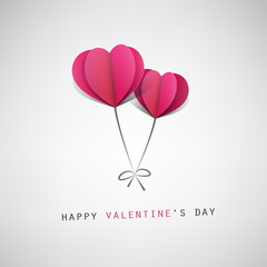 Valentine's Day Card Design Template With Heart Shape Balloons