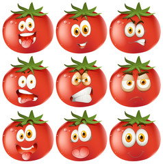Fresh tomato with facial expressions