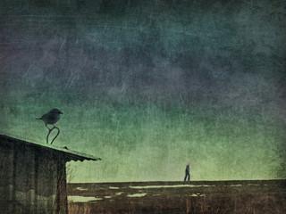 Crow man melancholy Wall mural