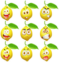 Fresh lemon with facial expressions