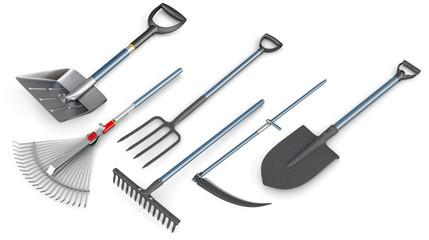 3d set of garden tools.