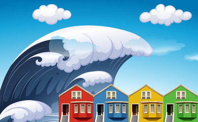 Tsunami with big waves over houses