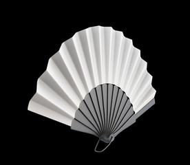 Hand fan on a black background. 3d.