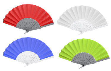 Set of different colors open hand fan. 3d.