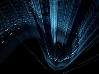 Abstract digitally generated image glowing pillars