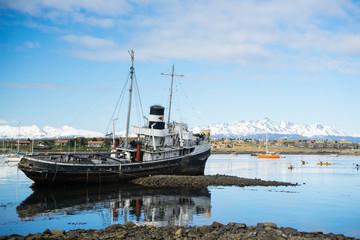old ship in ushuaia's harbor.