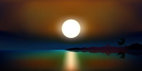 Paysage Coucher de soleil nuit-Ile