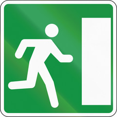 Slovenian road sign - Emergency escape on the right