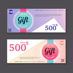Gift voucher template with colorful pattern, Gift certificate. B