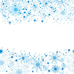 Winter background of beautiful, delicate snowflakes on a white background. For postcards, greetings, and inscriptions.