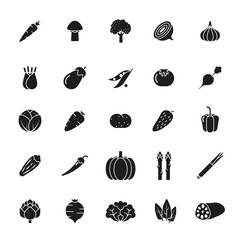 Vegetables Solid Vector Icon Set