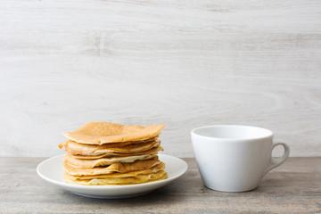 American breakfast. Pancakes and coffee