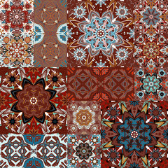 Seamless vector  patchwork tile with Victorian motives in colorful