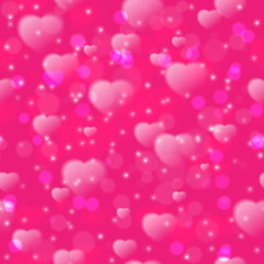 Seamless pattern with fuzzy hearts on pink background. Vector illustration