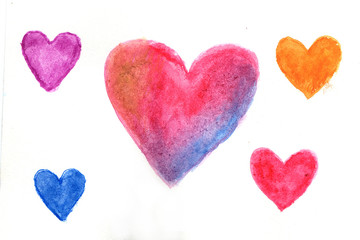 Multi-colored hearts in watercolor