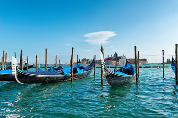 Gondolas moored in the Giudecca Canal, Venice
