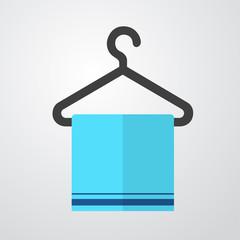 Icono plano toalla en percha color en fondo degradado