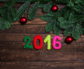 Childish New 2016 year background with christmas toy from felt