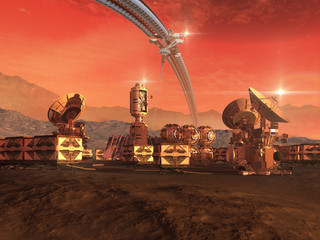 Mars like red planet with a sky structure, research modules, observation pods and communication satellite dishes for science fiction backgrounds