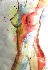 Beautiful watercolor picture of woman body