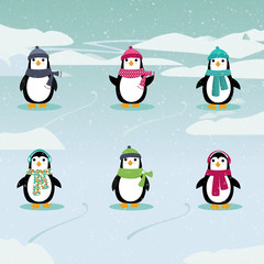 Festive Penguins / Illustration of six adorable penguins wearing hats and scarves in a winter scene.