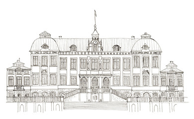 Sketch Sweden Drottningholm palace isolated on white
