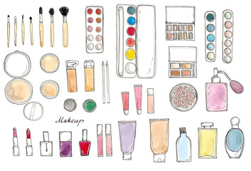 Watercolor Hand drawn sketch big set of makeup isolated on white with lettering