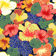 Floral seamless pattern with hand drawn flowers and leafs.