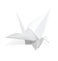 Realistic paper crane origami. Vector illustration on white background