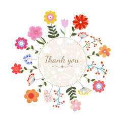 "Floral card with circle frame and text ""Thank you"""