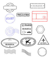 collection of vector grunge realistic stamps. All stamps are on separate layers and can easily be isolated, changed or some part of it removed.