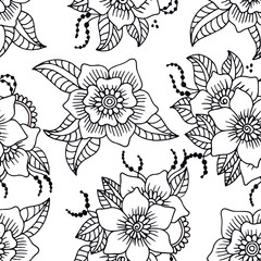 Black and white floral seamless pattern.