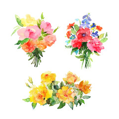 Watercolor floral bouquets. Design for cards and banners.